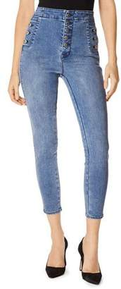J Brand Natasha High Rise Button Detail Skinny Jeans