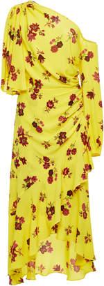 A.L.C. Florence One-Shoulder Ruched Silk Dress