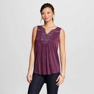 Knox Rose Women's Oil Wash Knit Tank with Embellished V-Neck $22.99 thestylecure.com