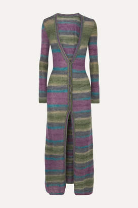 Jacquemus La Robe Gilet Striped Mohair-blend Cardigan - Purple