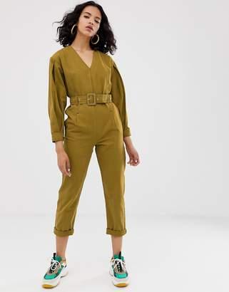 Asos v-neck belted jumpsuit