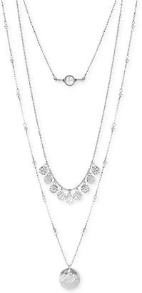 Lucky Brand Silver-Tone White Cabochon Layer Necklace $49 thestylecure.com