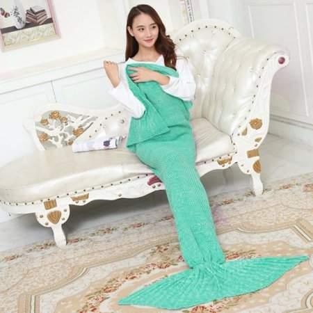 TRYIF Soft Yarn Knitted Mermaid Tail Blanket Handmade Crochet Mermaid Blanket