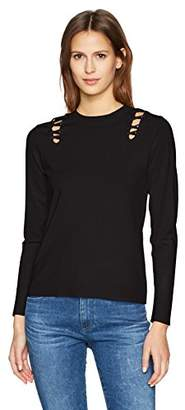 525 America Women's Crew Neck Laced Shoulder Detail Sweater