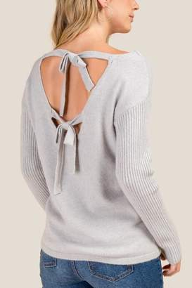 francesca's Angela Bow Back Sweater - Heather Gray