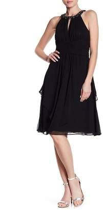 Eliza J Beaded Shirred Keyhole Dress