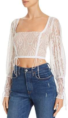 For Love & Lemons Bright Lights Lace Crop Top