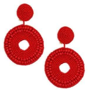 Kenneth Jay Lane Seed Bead Circle Clip-On Earrings
