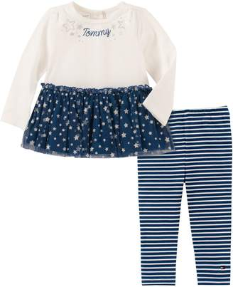 Tommy Hilfiger Baby Girl's 2-Piece Cotton-Blend Tunic Striped Leggings Set