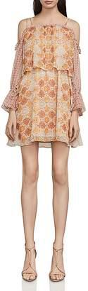 BCBGMAXAZRIA Dimitri Tile Print Cold-Shoulder Dress