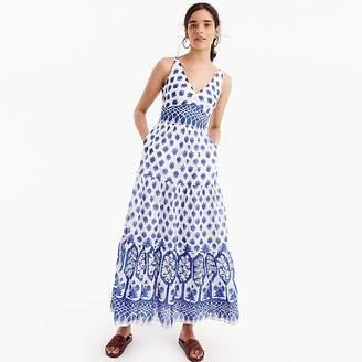 J.Crew Petite V-neck maxi dress in block print