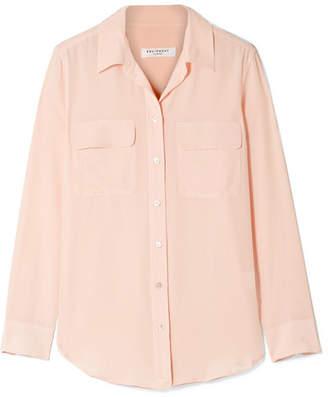 Equipment Slim Signature Washed-silk Shirt - Pastel pink