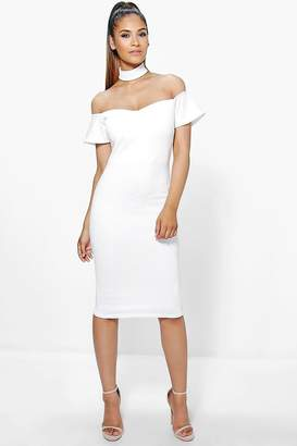 boohoo Tasmin Choker Off Shoulder Midi Dress