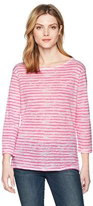 Majestic Filatures Women's Linen Stripe 3/4 Sleeve Boat Neck
