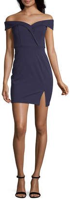 Speechless Short Sleeve Party Dress-Juniors