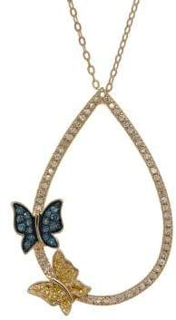 Lord & Taylor Multi-Color Diamond and 14K Yellow Gold Butterfly Pendant Necklace