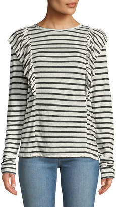 Frame Crewneck Striped Linen Top w/ Ruffled Trim