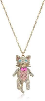 Betsey Johnson Women's Stone Cat Pendant Necklace