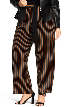 City Chic Belted Stripe Palazzo Pants
