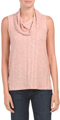 Sleeveless Cowl Neck Top With Hi-lo Hem