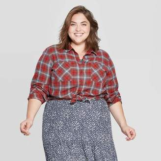 Universal Thread Women's Plus Size Plaid Long Sleeve Collared Flannel Shirt - Universal ThreadTM Red