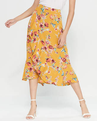 Band of Gypsies Ruffle Floral Midi Skirt