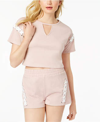 Material Girl Active Juniors' Lace-Up Crop Top