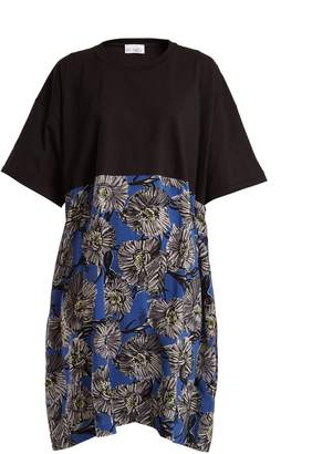 Raey Cotton and giant floral-print silk T-shirt dress