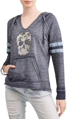 No Boundaries Juniors' Burnout Graphic V-Neck Pullover Varsity Stripe Hoodie