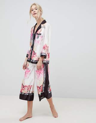 Ted Baker Painted Posey Revere Top And Wide Leg PJ Bottoms Set