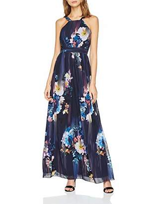 Little Mistress Viola Floral Maxi Dress Long Sleeveless Dress with Fitted Bodice and Floor Length Skirt. Wide Straps, Narrow Waistband and Smock Back.