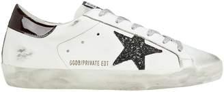 Golden Goose Superstar Black Glitter Star Low-Top Sneakers