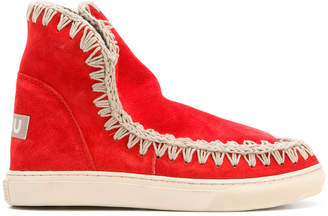 Mou embroidered detail chunky sole boots