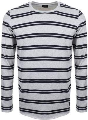 Long Sleeve Striped Terry T Shirt Grey