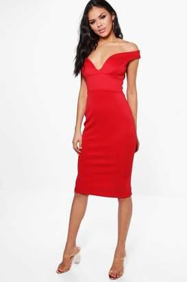 boohoo Skye Sweetheart Off Shoulder Bodycon Dress $38 thestylecure.com