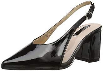 3d2779fab4f Lost Ink Women s Amy Perspex Block Heel Sling (Wide Fit) Back (Black 0001