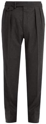 Ralph Lauren Purple Label Straight Leg Wool Flannel Trousers - Mens - Dark Grey