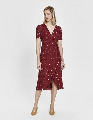 Farrow Elsa Polka-Dot Wrap Dress in Burgundy