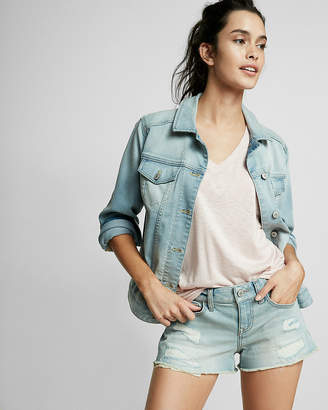 Express Low Rise Distressed Cutoff Denim Shorts