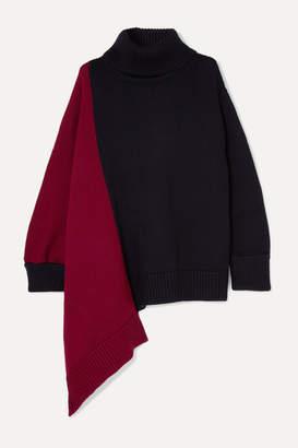 Monse Oversized Asymmetric Two-tone Merino Wool Turtleneck Sweater - Navy