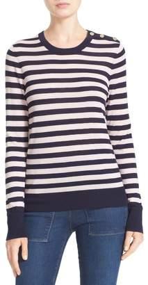 Equipment Ondine Stripe Silk & Cashmere Sweater $298 thestylecure.com