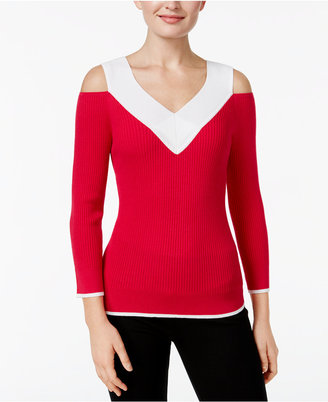 Cable & Gauge Cold-Shoulder Ribbed Colorblocked Sweater $50 thestylecure.com