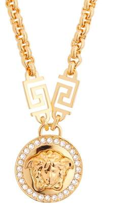 Versace Crystal Medusa Head Greca Chain Necklace - Womens - Gold