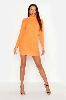 boohoo Roll Neck Soft Knit Neon Jumper Dress