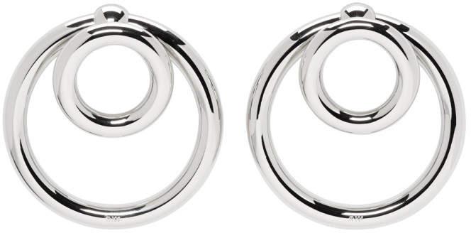 Silver Double O-ring Earrings