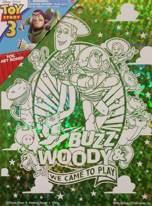 """Toy Story Disney Pixar Wall Decoration ART BOARD (7 1/2"""" X 9 3/4"""") (BUZZ LIGHTYEAR & WOODY Green Foil Art Board """"WE CAME TO PLAY"""")"""