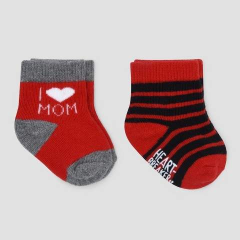 Just One You made by carter Baby Boys' 2pk Valentines Day Socks – Just One You Made by Carter's® Red/Gray