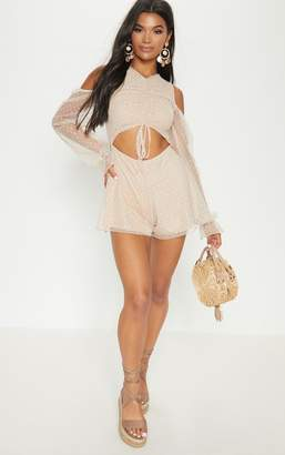PrettyLittleThing Stone Dobby Mesh Cold Shoulder Playsuit