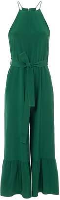 Tibi Silk Halter Ruffle Jumpsuit