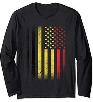 Belgian American Flag Long Sleeve T-shirt Belgium Usa